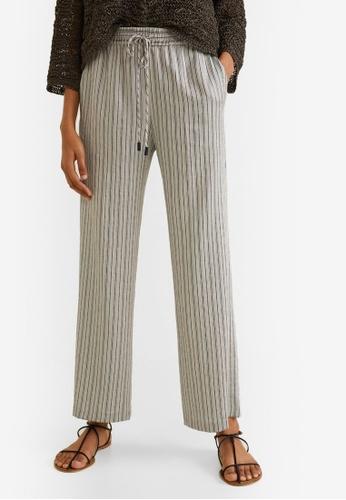 Mango beige Stripes Printed Trousers E7763AA72EE4F3GS_1