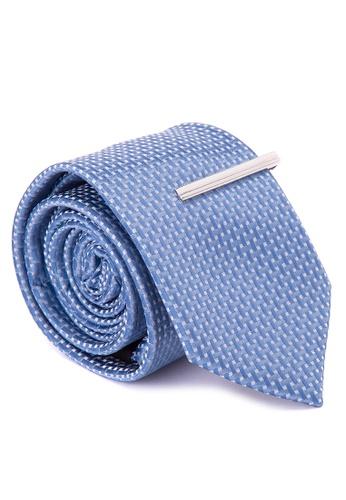 Burton Menswear London blue Pale Blue Geometric Tie & Clip BU102AC0J9K3PH_1