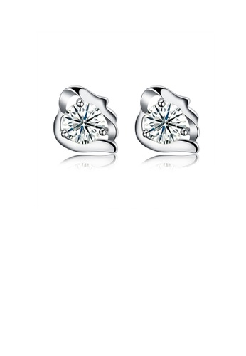 Glamorousky white 925 Sterling Silver Simple Elegant Exquisite Mini Flower Earrings and Ear Studs with Cubic Zircon E41B7AC0FDE9CEGS_1