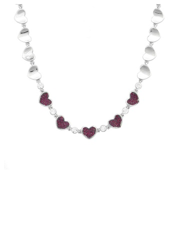 Glamorousky silver Cutie Heart Necklace with Purple Austrian Element Crystals 98FB4AC812ADA4GS_1