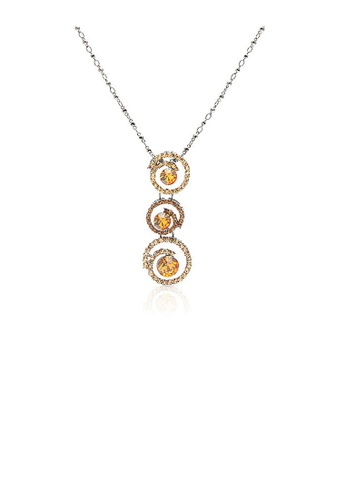 Glamorousky orange Golden Tri-Ripple CZ Pendant with Austrian Element Crystals and Necklace FD6D2AC53D5C8FGS_1