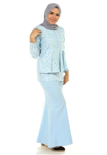 Buy Rosa Kurung With Layered Pleated from Ashura in Blue at Zalora