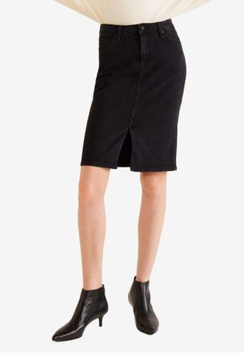Mango black Slit Denim Skirt A91F1AA57EBDBDGS_1