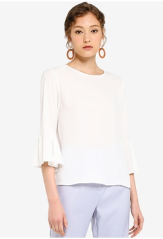 3c6a8df6f ZALORA BASICS white Basic Flare Sleeves Blouse D300CAA821626AGS_1
