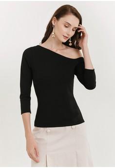 b80f25f43c1d Cloth Inc black Flynn Asymmetric Knit Top 99DD4AAC736274GS_1