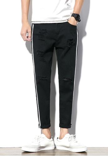hk-ehunter black Men Side Stripe Cropped Pants 043E6AAE340E37GS_1