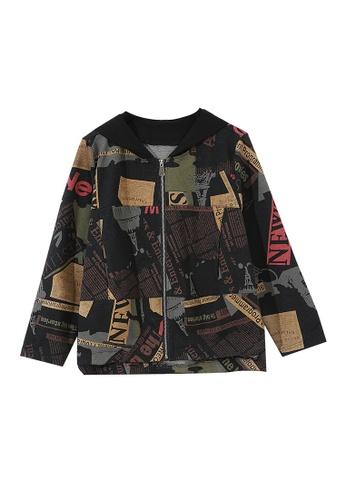 Its Me black and multi Vintage Print Hooded Jacket 9D72EAA8E681EDGS_1