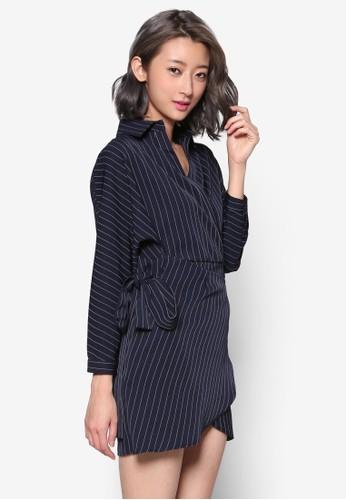 側繫帶裹飾長袖連身裙, 服飾,esprit 京站 洋裝