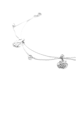 Glamorousky silver Elegant Apple Anklet with Silver Austrian Element Crystals 18C5DACDF9EA5CGS_1