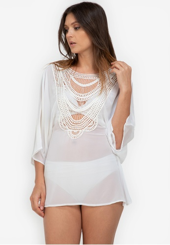 Eve's Chic white Charito Cropped Lace Cover Up Blouse 34C5AUSF5BD40AGS_1