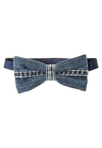 BARBA blue Denim With Stitching Bow Tie BA953AC41LHYPH_1