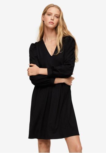 Mango black Puffed Sleeves Short Dress ADF3BAA14D7529GS_1