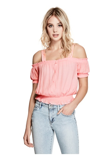 Guess pink Delta Smocked Top GU020AA0GVCMSG_1