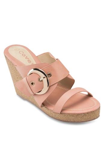 Covet 扣環雙帶楔型跟涼鞋, 韓系時尚, esprit hk store梳妝