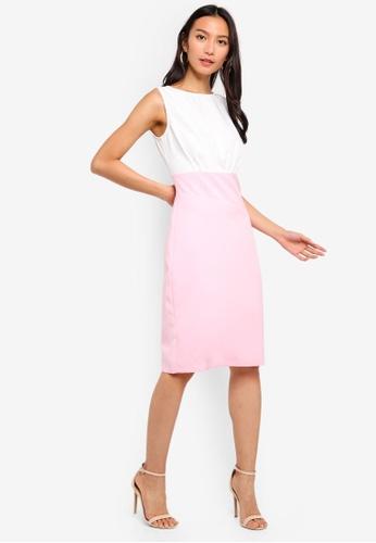 ZALORA 白色 and 粉紅色 Asymmetrical Waist Sheath Dress AB9C6AA6B7008AGS_1