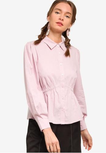 Lubna pink Cotton Gathered Waist Shirt DAF8AAAC055808GS_1
