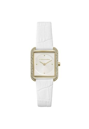 BCBG white BCBGMAXAZRIA BG50908003 Gold Tone and White Leather Watch C9E00AC7B3101DGS_1