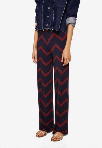 Mango blue and navy Geometric Print Trousers E6E01AAFC1E34FGS_1