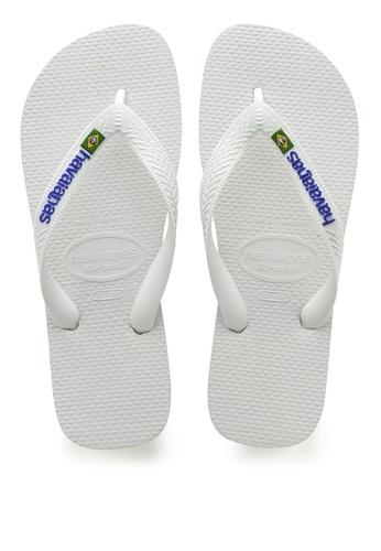 Havaianas white Brasil Logo Flip Flops A2AF0SH1B3F18BGS_1