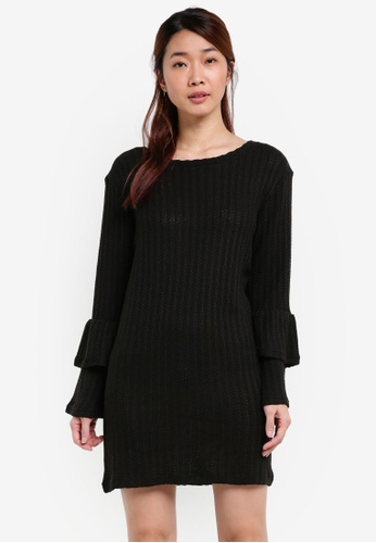 Something Borrowed black Knitted Tiered Ruffle Sweater Dress 047DCZZ805C3EAGS_1