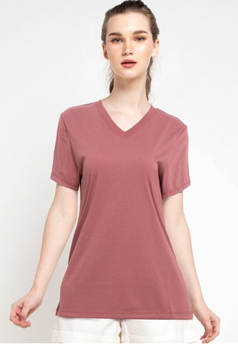 Tolliver red V Neck Basic Short Sleeve Tee 130AEAA4A7C280GS_1