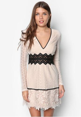 Bzalora時尚購物網評價ella 拼色蕾絲低胸洋裝, 服飾, 洋裝
