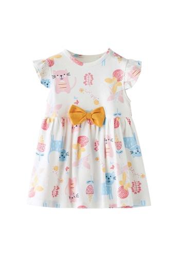 Little Kooma white Baby Girl Ruffled Sleeves White w Cats Bodysuit Dress Yellow Bowtie 69DBCKA06E2E2EGS_1