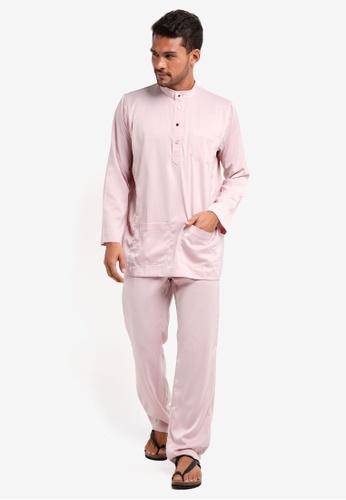 Lubna pink Matte Satin Baju Melayu Cekak Musang 82ECFAA7C6247BGS_1