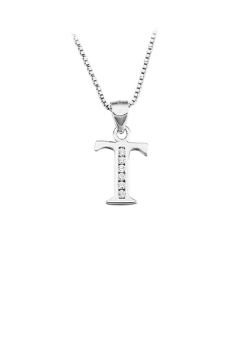 Glamorousky white 925 Sterling Silver Fashion Simple English Alphabet T Pendant with Cubic Zirconia and Necklace 99047ACADB3BB3GS_1