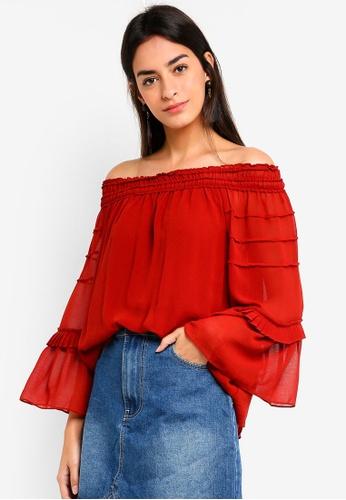 Max Studio red Woven Off Shoulder Long Sleeve Top EE1E7AA4C29D84GS_1