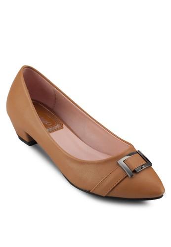 PU 扣環尖頭低跟鞋, 女鞋, 厚底高跟esprit 衣服鞋