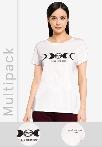 LC Waikiki beige 2-pack Crew Neck Printed T-Shirt 2C571AAFAADA9CGS_1