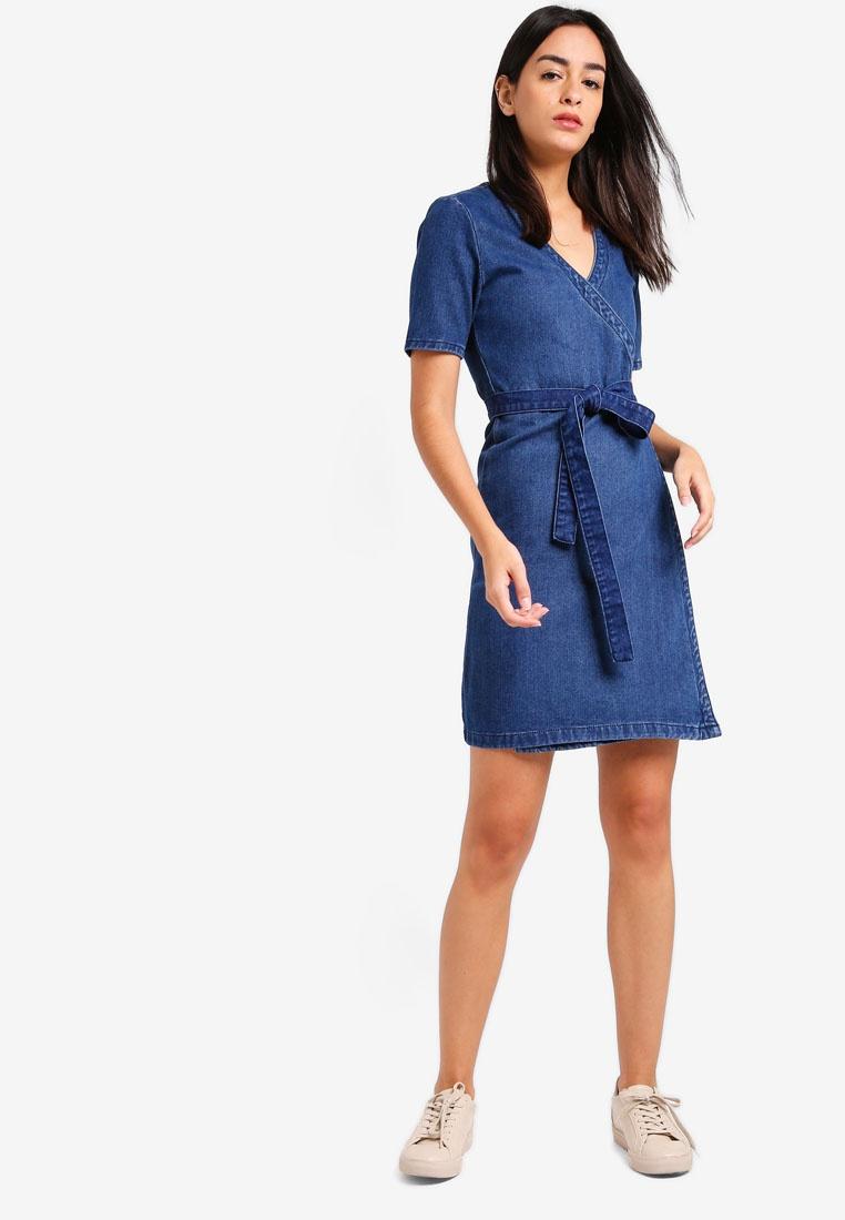 ZALORA Wrap Mid Neck V Blue Dress YwCTttq