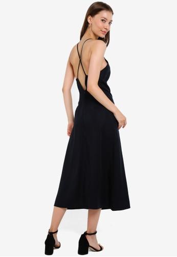 ZALORA BASICS black Cross Back Dress made from TENCEL™ 479F4AA20FDBE6GS_1