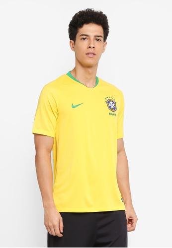 Nike green and gold Men's Nike Breathe Brasil Cbf Stadium Home Jersey CD02AAAB7736A3GS_1