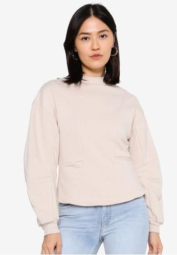 ONLY beige Stella Long Sleeve Sweatshirt 670E9AAE41CDC7GS_1
