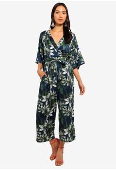 ee6713ff22f Mela London navy Floral Printed Kimono Sleeve Jumpsuit 112D6AAEBAF22AGS 1