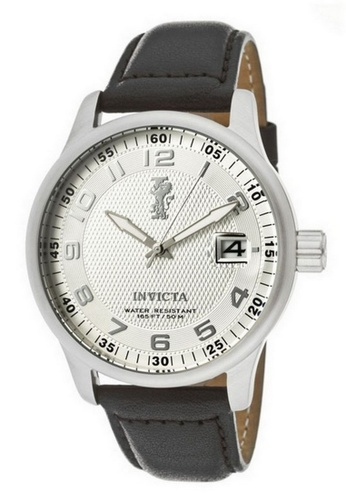 INVICTA silver Invicta I-Force Men 44mm Case Black Leather Strap Silver Dial Quartz Watch 12823 w/ Cap IN968AC0FA00SG_1