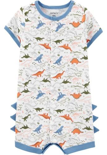 Carter's white CARTER'S Boy Dinosaur Print Snap-Up Romper EFFCEKAACDB556GS_1