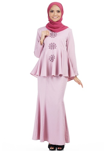 Iffa Kurung with Frill Peplum from Ashura in Pink and Multi