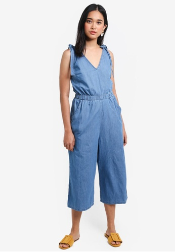Miss Selfridge blue Tie Shoulder Jumpsuit 50FA5AA71F7390GS_1