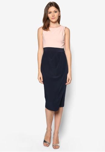 撞zalora 包包 ptt色假兩件裹式連身裙, 服飾, 正式洋裝