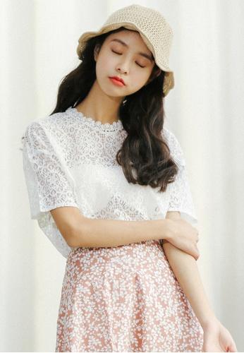 Shopsfashion white Illusion Collar Lace Blouse in White  SH656AA0FI71SG_1