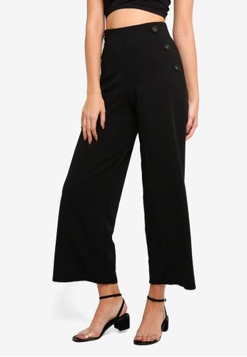 Miss Selfridge black Petite Black Button Full Length Trousers FB5DCAA1489065GS_1