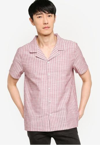 ZALORA BASICS multi Camp Collar Stripe Shirt 37C86AA9DE5901GS_1
