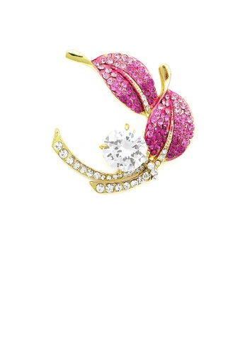 Glamorousky silver Leaf Brooch with Pink and Silver Austrian Element Crystals and Silver CZ EF587AC0047589GS_1