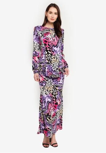 Zuco Fashion purple and multi Midi Kurung Kebaya Peplum Style 9B2AEAADE0F933GS_1