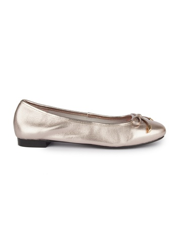 MAUD FRIZON gold Kid Leather Square Toe Ballerinas With Bow 764D2SH9B3ABF9GS_1