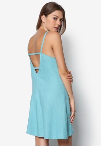亞zalora 包包評價麻細肩帶露背連身裙, 服飾, 服飾