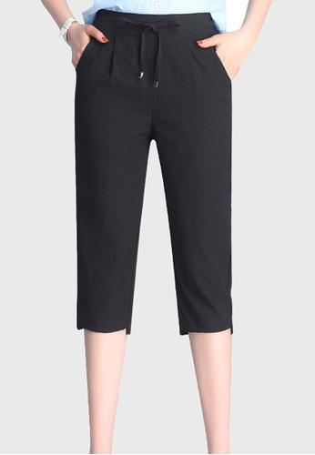 Twenty Eight Shoes black VANSA Ice Silk Cotton Linen Cropped Pant VCW-PYMS7 E7C82AA131CC39GS_1